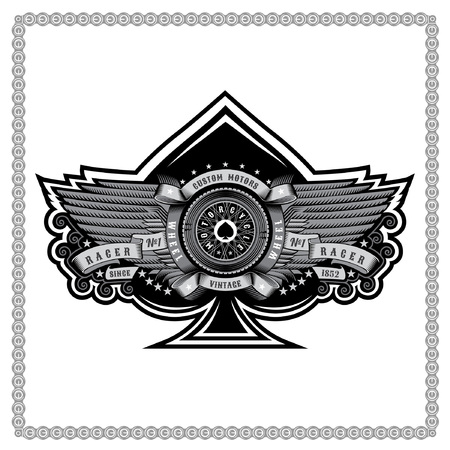 Ace of spades with motorbike wheel between wings and ribbons. Motorcycle design for print or card on white