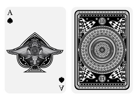 Ace of spades in motorcycle style. Face with bike, skulls with wings inside spades form and back with motorcycle wheel and round pattern on suit. Vector card template