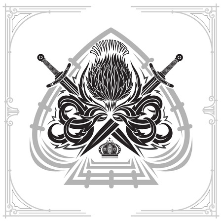 Ace of spades silhouette form with thistle floral pattern and crossed swords. Design element black on white