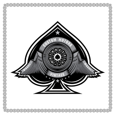 Ace of spades from motorbike wheel in side view between wings and ribbons. Motorcycle design for card or print on white