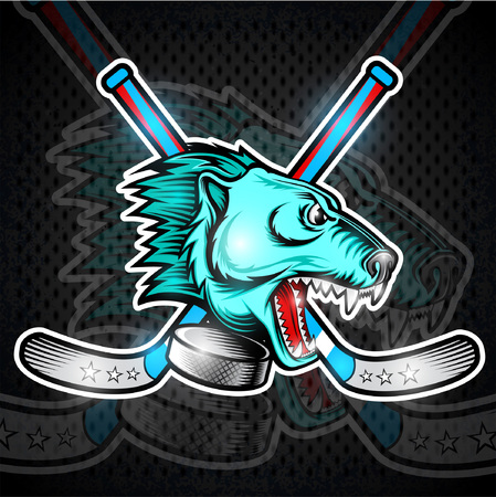 Beast bear face from the side view with hockey puck and crossed stick. Logo for any sport team polarbear Stock Illustratie
