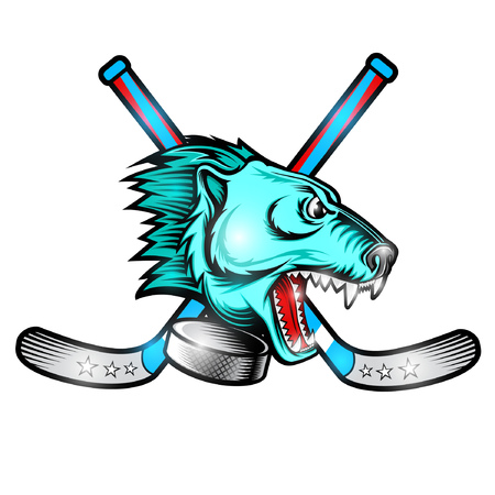 Beast bear face from the side view with hockey puck and crossed stick. Logo for any sport team polar bear isolated on white Stock Illustratie