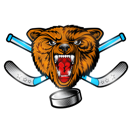 Beast bear from the front view with hockey puck crossed stick. Logo for any sport team grizzly isolated on white