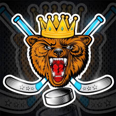 Beast bear from the front view with crown and crossed hockey stick. Logo for any sport team grizzly
