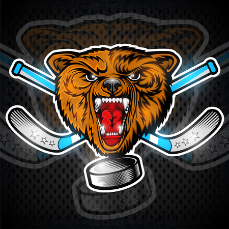Beast bear from the front view with hockey puck crossed stick. Logo for any sport team grizzly
