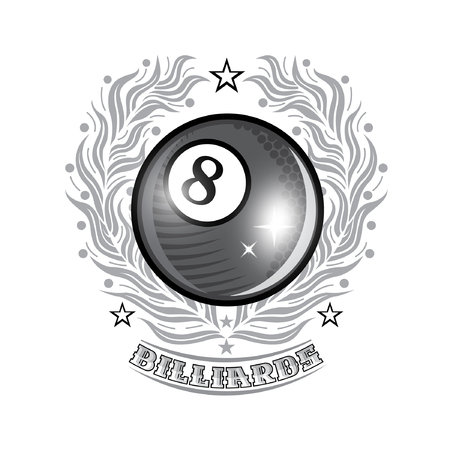 Black billiard ball in center of silver olive wreath. Sport logo for any billiard game or championship