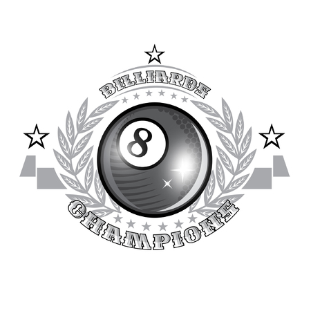 Black billiard ball in center of silver wreath. Sport logo for any billiard game or championship