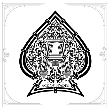 Capital lettern A in middle foral pattern inside ace of spades form. Vintage design playing card element black on white