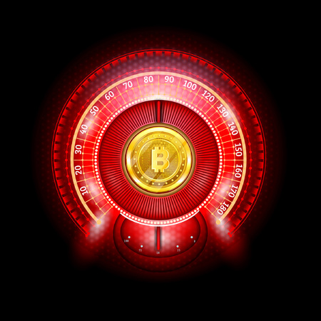Bit coin round abstract shiny red speedometer with arrows and indicators