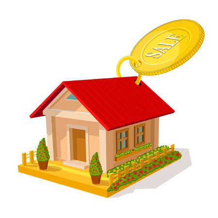 Color of isometric image of private house with round tally sale isolated on white