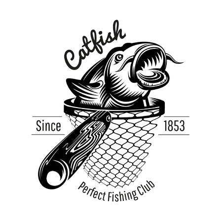 Catfish head up from landing net in engraving style. Logo for fishing or fishing shop isolated on white Иллюстрация