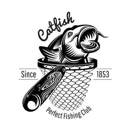 Tête de poisson-chat de l'épuisette dans le style de gravure. Logo pour magasin de pêche ou de pêche isolé sur blanc
