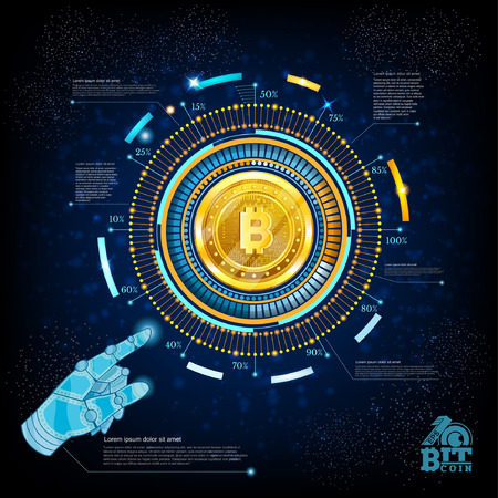 Business background with golden bit coin in center of round hightech futuristic info graphic