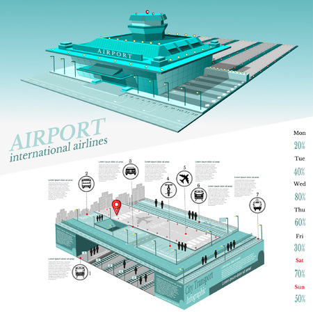 City transport info graphic with building of airport and two level part street with transport communication