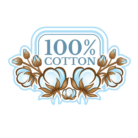 Color label with frame between pattern from cotton plants. Logo for textile, fabric, cloth or business