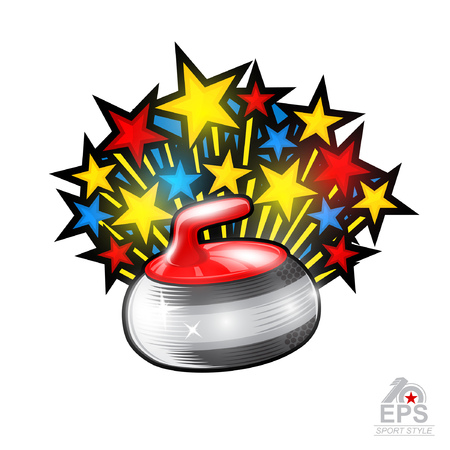 Color stars fly out from curling red stone all star geme on white. Sport logo for any team or championship Vettoriali