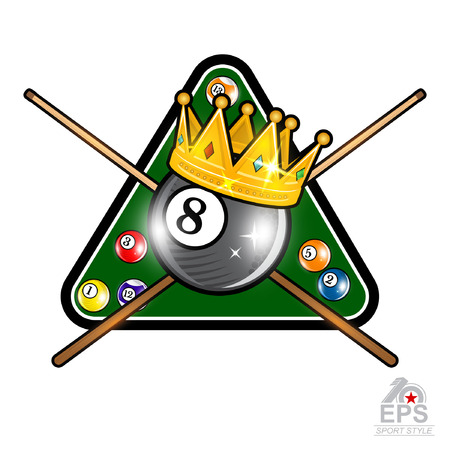 Billiard ball with crown and pyramyd gren table with crossed cues on whit. Sport logo for any team or championship