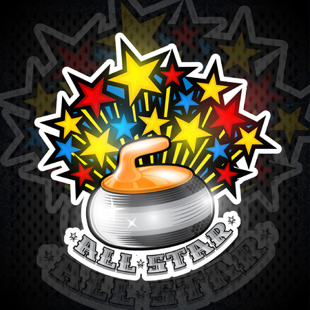 Color stars fly out from curling yellow stone all star geme. Sport logo for any team or championship Vettoriali