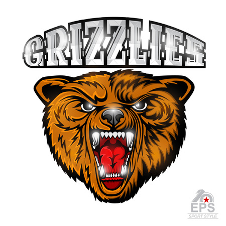 Beast bear face from the front view with bared teeth. Logo for any sport team grizzlie isolated on white