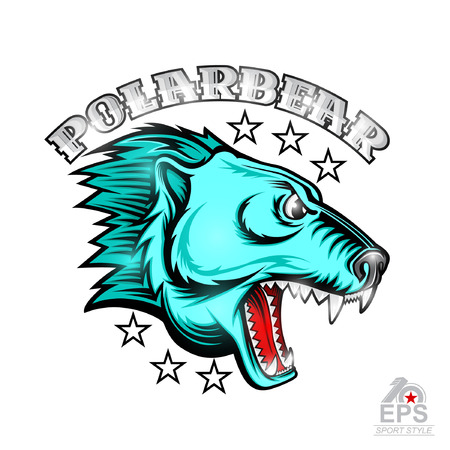 Beast bear face from the side view with bared teeth. Logo for any sport team polarbear isolated on white Stock Illustratie