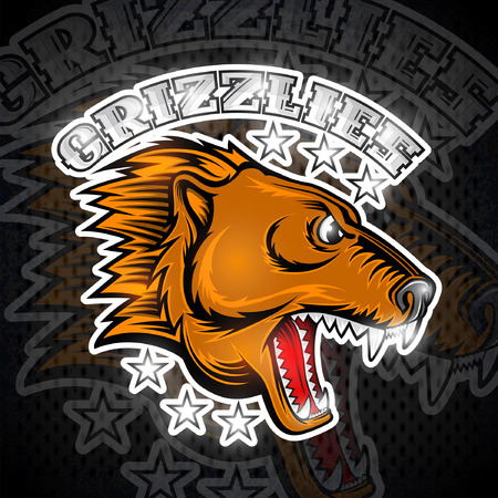 Beast bear face from the side view with bared teeth. Logo for any sport team grizzlies