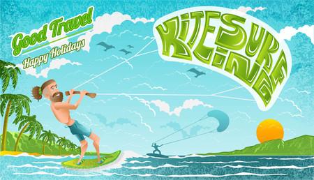 Beard man character riding on kiteboard with lettering kitesurfing on his parachute. Bright illustration in flat cartoon style. Vector Illustration