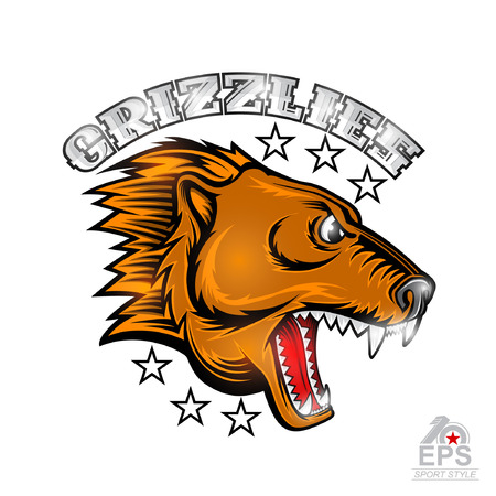 Beast bear face from the side view with bared teeth. Logo for any sport team grizzlies isolated on white Illustration