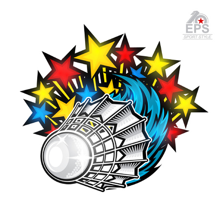 Color stars fly out from shuttlecock. Sport logo isolated on white for any badminton team or championship Vettoriali