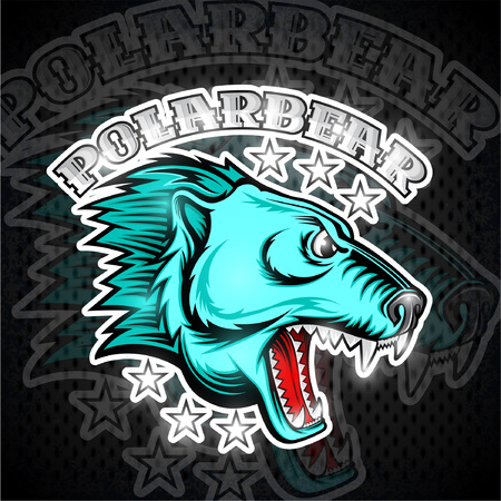 Beast bear face from the side view with bared teeth. Logo for any sport team polarbear Illustration