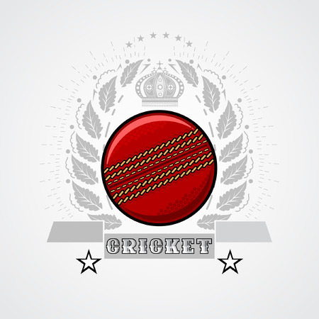 fefe509be86ec Cricket ball in center of silver wreath with crown. Sport logo for any team