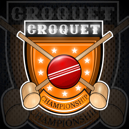Crossed mallet croquet with red ball in center of shield. Sport logo for any team or championship