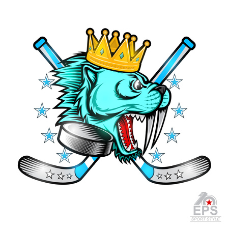 Gold crown on side view saber-toothed tiger head with crossed hockey sticks and hockey puck in his mouth. Logo for any sport team cougar isolated on white