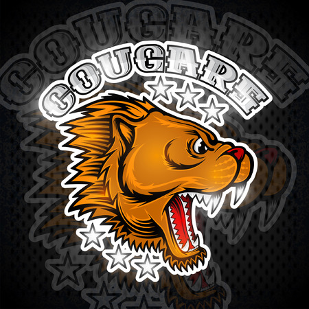 Beast face from the side view with bared teeth. Logo for any sport team cougar