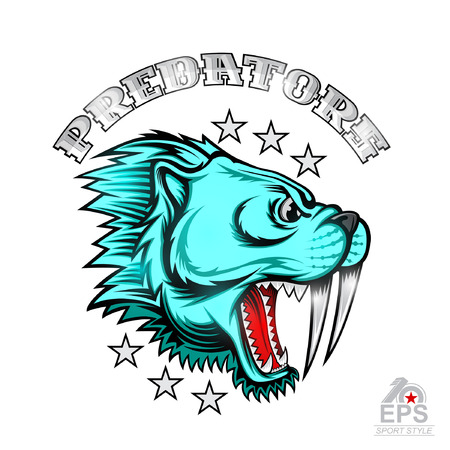 Beast saber-toothed tiger face from the side view with bared teeth. Logo for any sport team predator isolated on white
