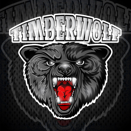 Beast wolf face from the front view with bared teeth. Logo for any sport team timberwolf Illustration
