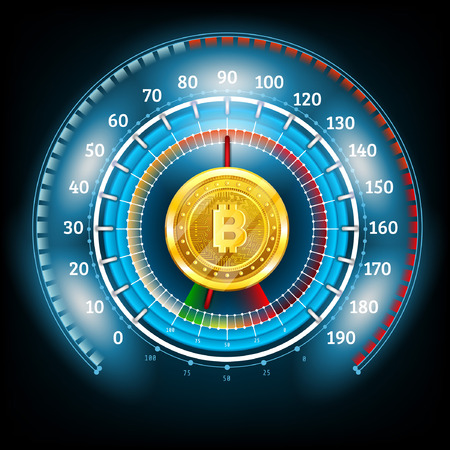 Bit coin round abstract shiny blue speedometer with arrows and indicators