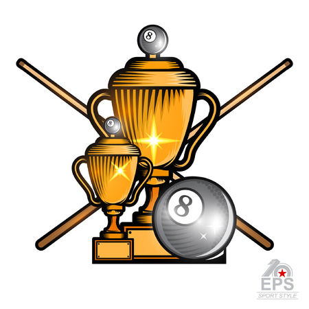 Black billiard ball and crossed cues with cups on white. Sport logo for any team or championship