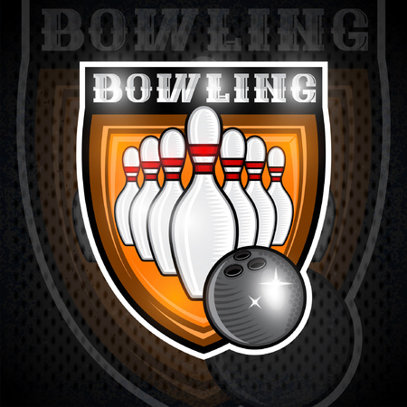 Bowling ball fly to skittles in center of shield. Sport logo for any team or championship 向量圖像