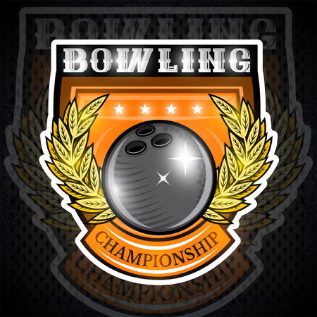 Bowling ball in center of golden wreath on the shield. Sport logo for any team or championship