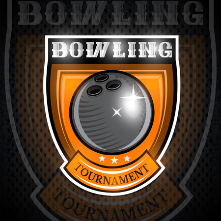 Bowling ball in center of shield. Sport logo for any team or championship