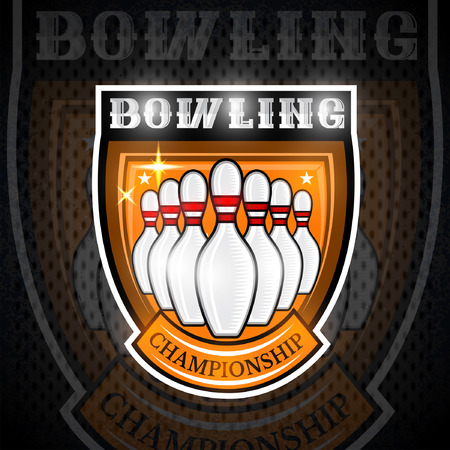 Bowling skittles in center of shield. Sport logo for any team or championship Illustration