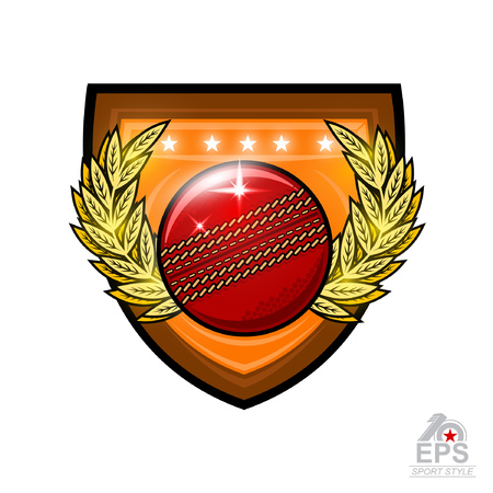 Cricket ball in center of golden wreath on the shield. Sport logo for any team or championship isolated on white
