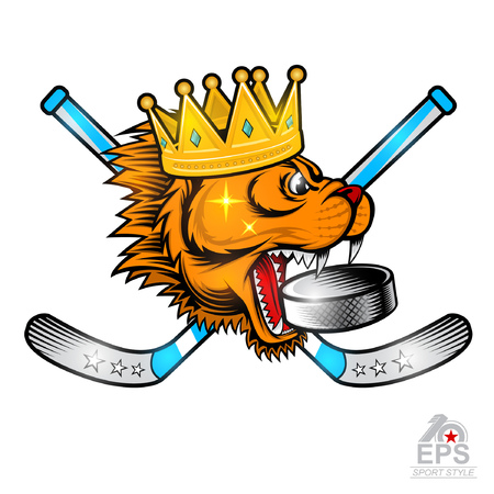 Gold crown on side view predator head with crossed hockey sticks and hockey puck in his mouth. Logo for any sport team cougar isolated on white Çizim
