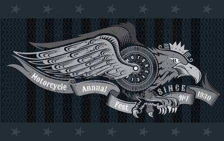 Eagle with motorbike wheel wings wings and ribbon. Vintage motorcycle design on blackboard Ilustração