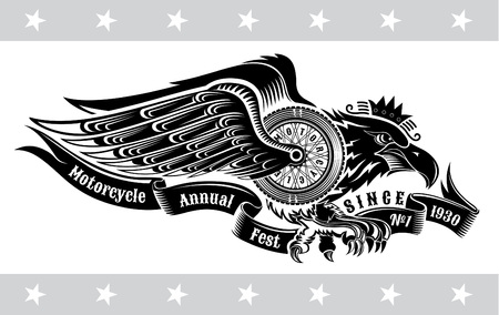 Eagle with motorbike wheel wings wings and ribbon. Vintage motorcycle design on white