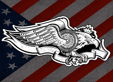Eagle with motorbike wheel with wings and ribbon on stars and stripes flag background. Vintage motorcycle design on white