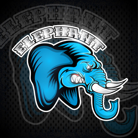 Elephant head from the side view with bared teeth. Logo for any sport team