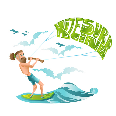 Beard man character riding on kiteboard with lettering kitesurfing on his parachute. Bright illustration in flat cartoon style isolated on white.