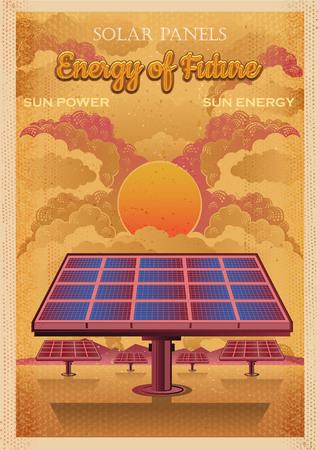 Énergie du futur, panneaux solaires vector illustration vintage. Style d'affiche rétro
