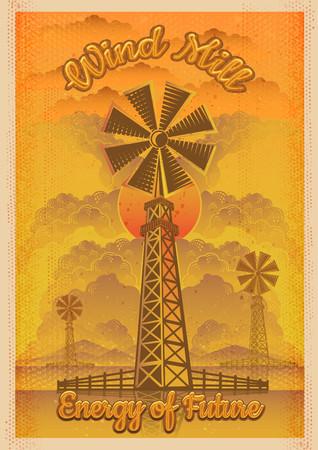 Energy of future, wind mill vector vintage illustration.